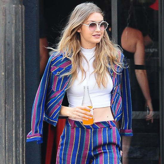 Gigi Hadid Striped Suit in New York July 2016