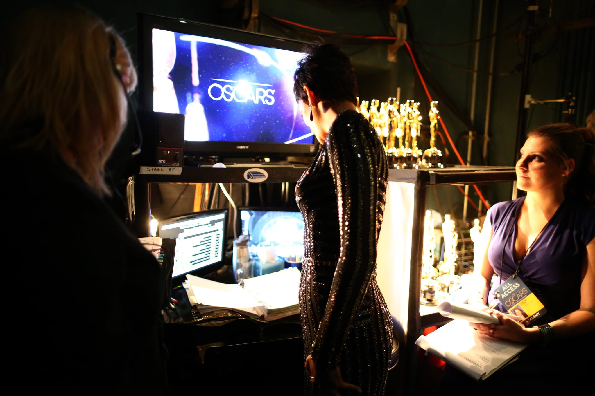 Halle Berry backstage at the 2013 Oscars.