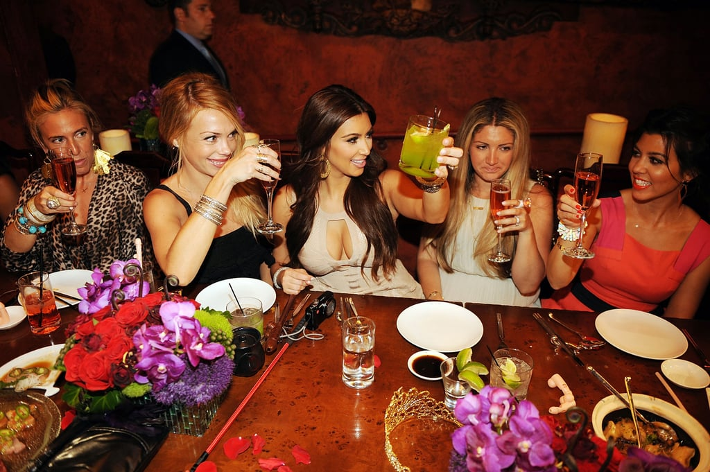 Kim Kardashian dined with her friends prior to the bash.