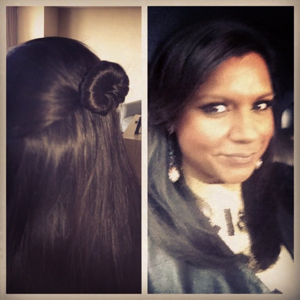 """Mindy Kaling showed off a hairstyle that she called the """"your favorite babysitter."""" Source: Instagram user mindykaling"""