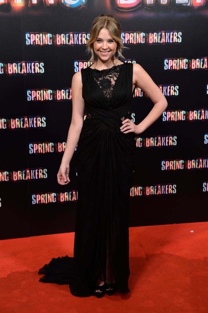 Like Selena, Ashley Benson chose black for the Madrid premiere of Spring Breakers. Hers was a sleeveless Tadashi Shoji gown with a floral appliqué detail and a small train.