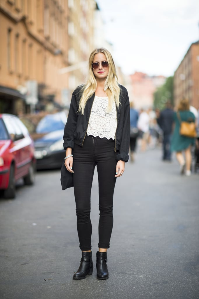 Transition your lacy piece right into Fall with high-waisted denim and a pair of tough biker boots to anchor your frills. Source: Adam Katz Sinding