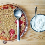 Strawberry Rhubarb Crumble With Cardamom Whipped Cream