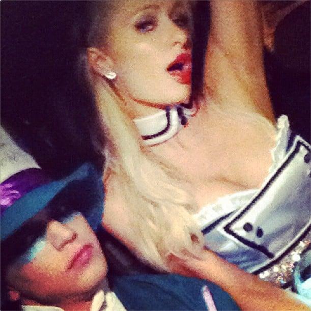 Paris Hilton and her boyfriend channelled Alice in Wonderland. Source: Instagram user riverviiperi
