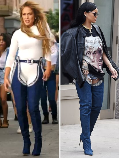 Jennifer Lopez Dances in the Denim Boot Chaps Rihanna Sent Her! Was Riri Right That JLo Wore Them Better?