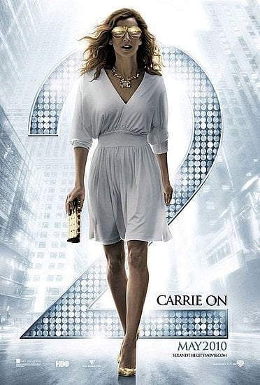 Here's one of the movie posters. Get Carrie's chic white Halston look for less courtesy of OnSugar blog Lollie Shopping.