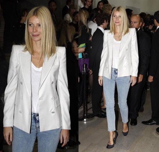Gwyneth Paltrow Attends Paris Fashion Week in White Stella McCartney Blazer and Acid Jeans