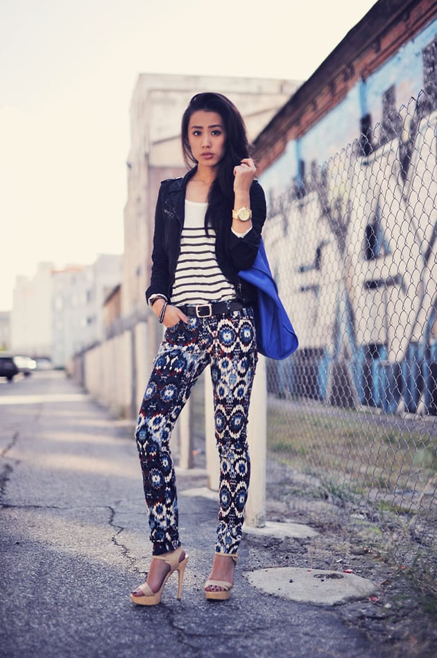 If you're jonesing for a more striking ensemble, mix your prints with a striped tee and vibrant patterned trousers.  Photo courtesy of lookbook.nu