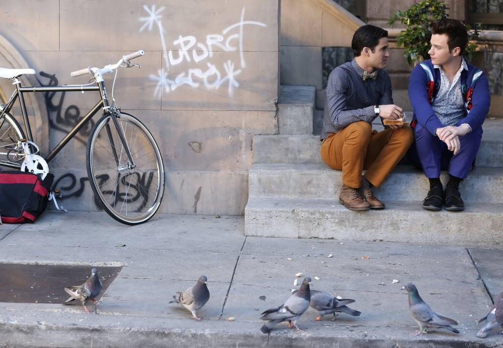 Blaine and Kurt have a talk on the doorstep.