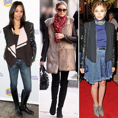 Celebrities Wearing Leather-Sleeve Coats 2012