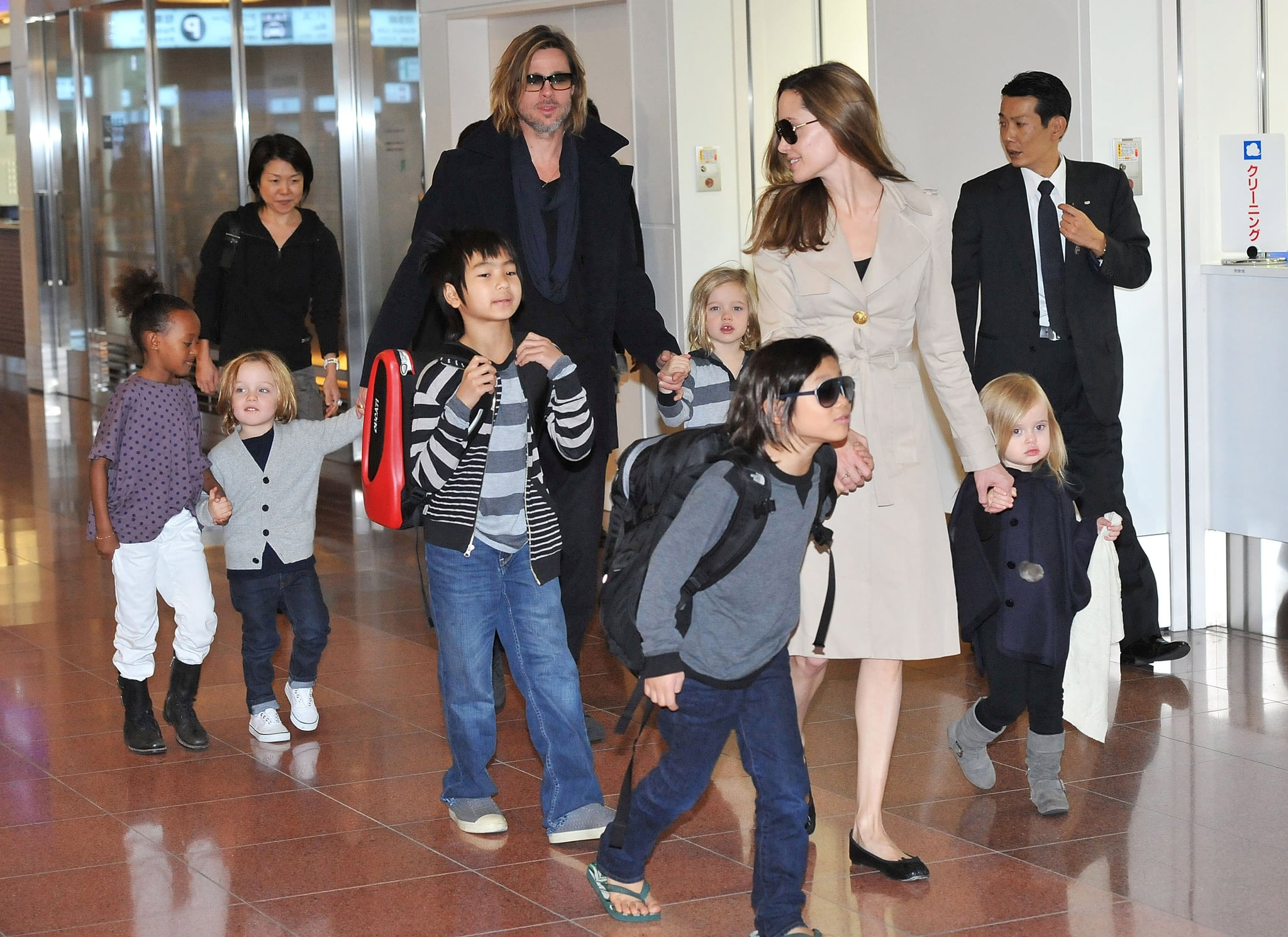 The Jolie-Pitts arrived in Japan together.