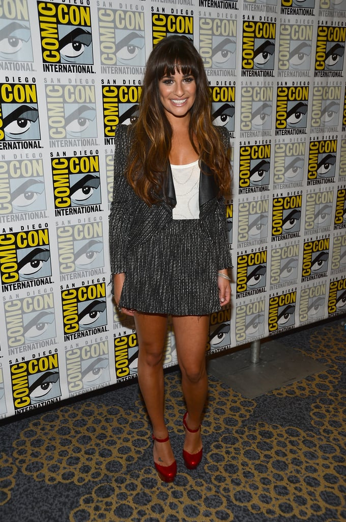 Lea Michele flashed her megawatt smile in the Glee press room in 2012.