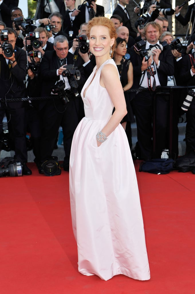 Jessica Chastain shared a smile with photographers at the opening of the Cannes Film Festival and the premiere of Moonrise Kingdom.