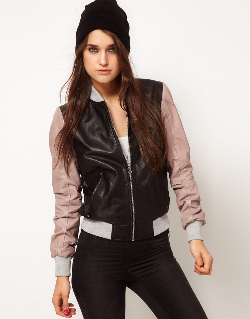 This colorblock ASOS Leather Bomber Jacket ($141) is like something out of Grease — hip, edgy, and a little bit girlie.