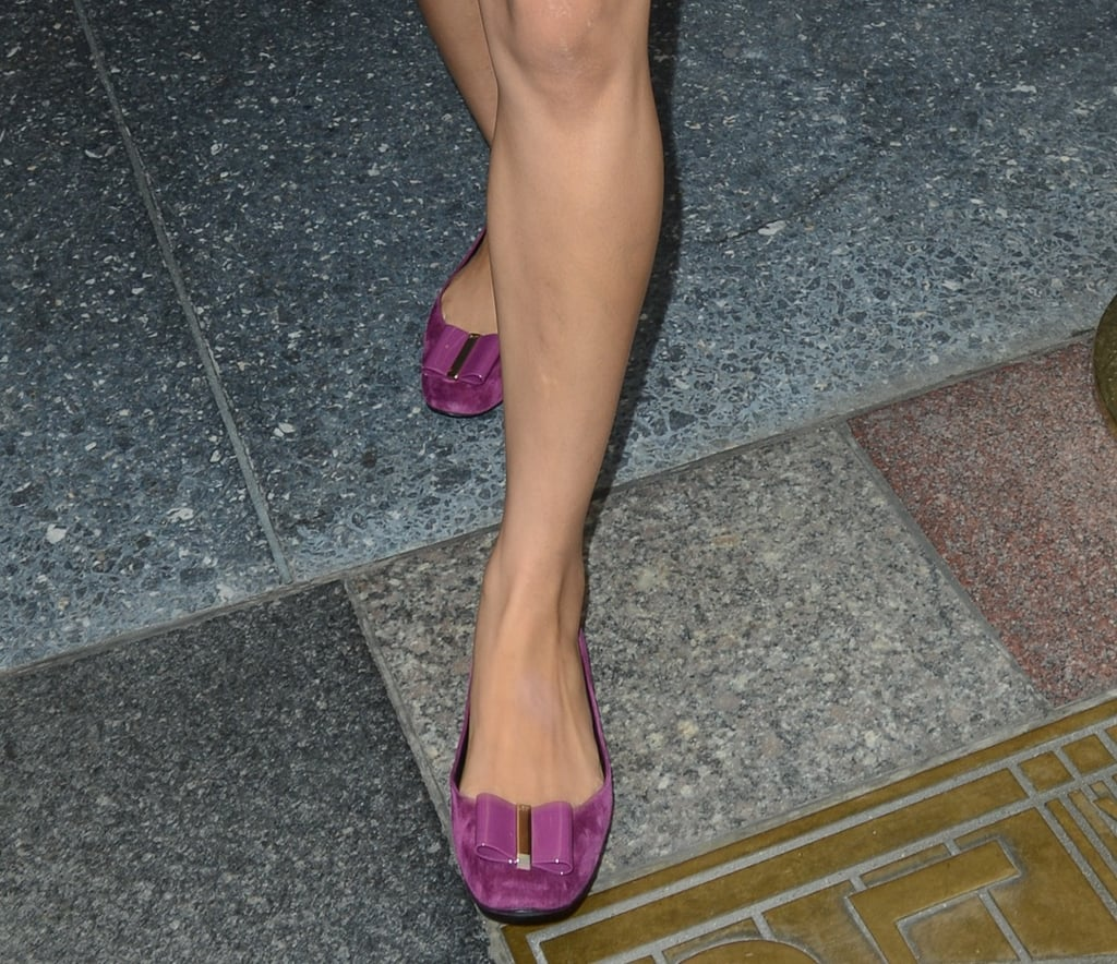 Freida loves her magenta-hued Roger Vivier flats, wearing them with two different Today show outfits.