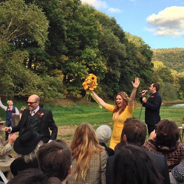 Amber Tamblyn was excited after marrying David Cross at their October 2012 nuptials.  Source: Instagram user Questlove
