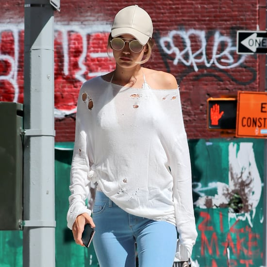 Gigi Hadid Wearing Blue Jeans July 2016