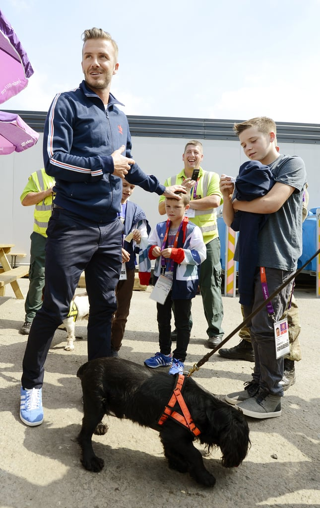 David Beckham and his sons, Romeo Beckham, Cruz Beckham, and Brooklyn Beckham, met one of the security sniffer dogs.