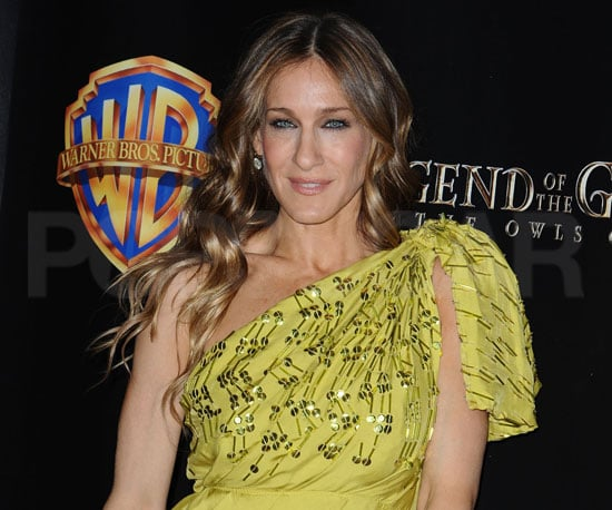 Slide Photo of Sarah Jessica Parker Wearing an Asymmetrical Lime Dress in Las Vegas