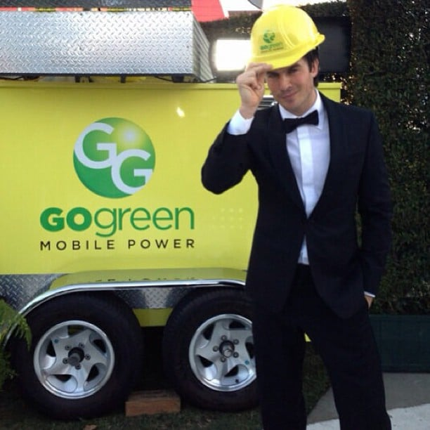 Ian Somerhalder posed with a hard hat at Elton John's Oscars viewing party. Source: Instagram user somerhalder_ian