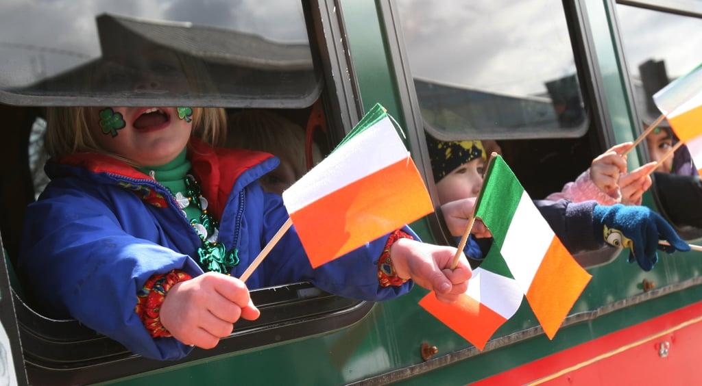 Irish flags are everywhere.