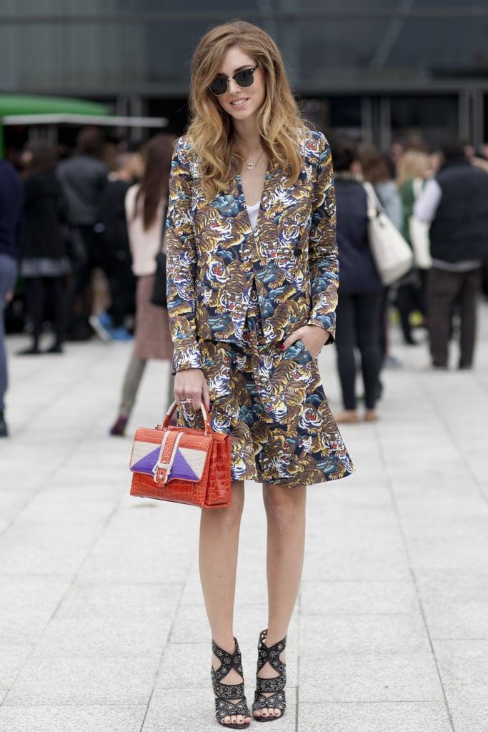 Chiara Ferragni suited up in a wild print.