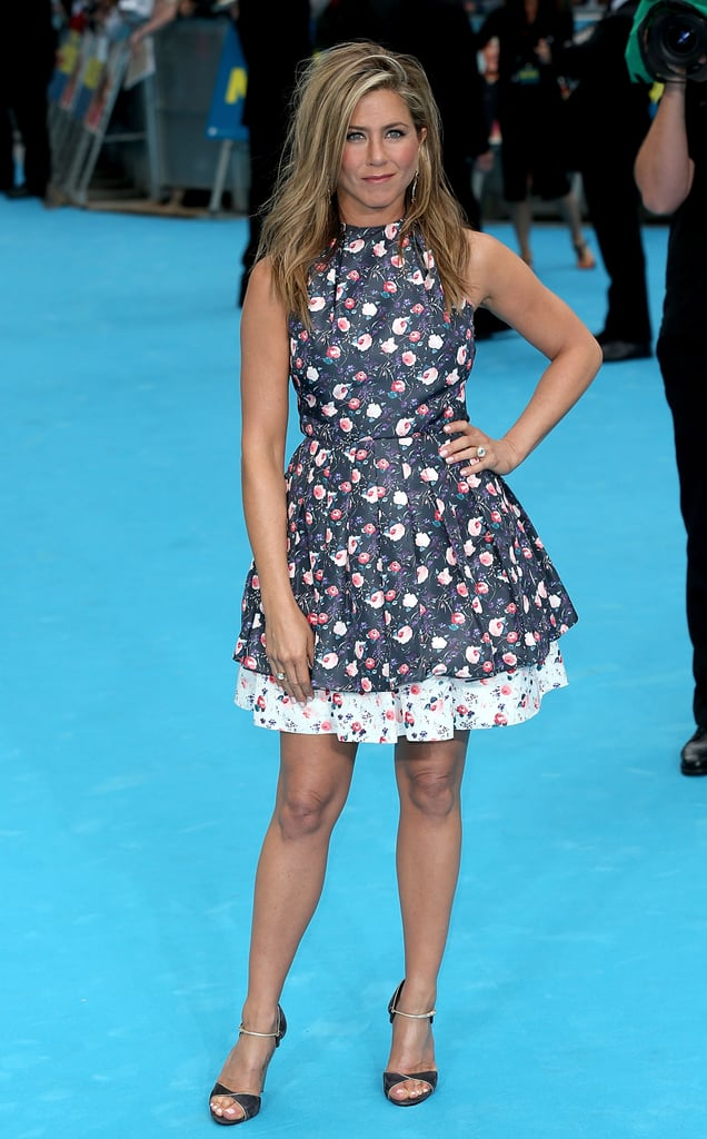 Jennifer Aniston was at her loveliest in a floral Dior design and suede Casadei sandals at the London We're the Millers premiere.