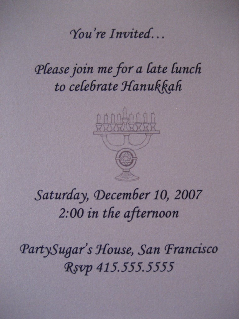 Come Party With Me: Hanukkah Luncheon — Invite