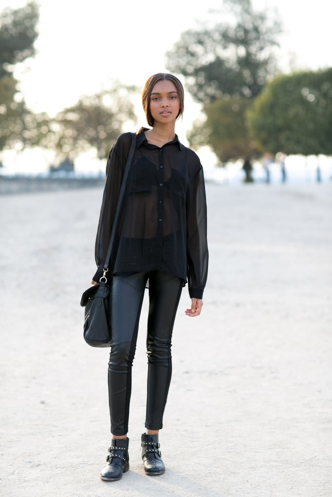 Because a model knows that working all black doesn't have to basic.