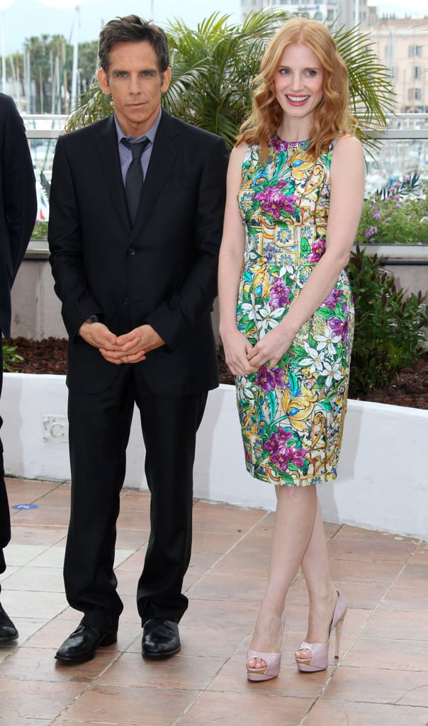 Jessica Chastain was the picture of Spring in this bright floral Dolce & Gabbana sheath and nude Rupert Sanderson peep-toe pumps at the Madagascar 3 photocall.
