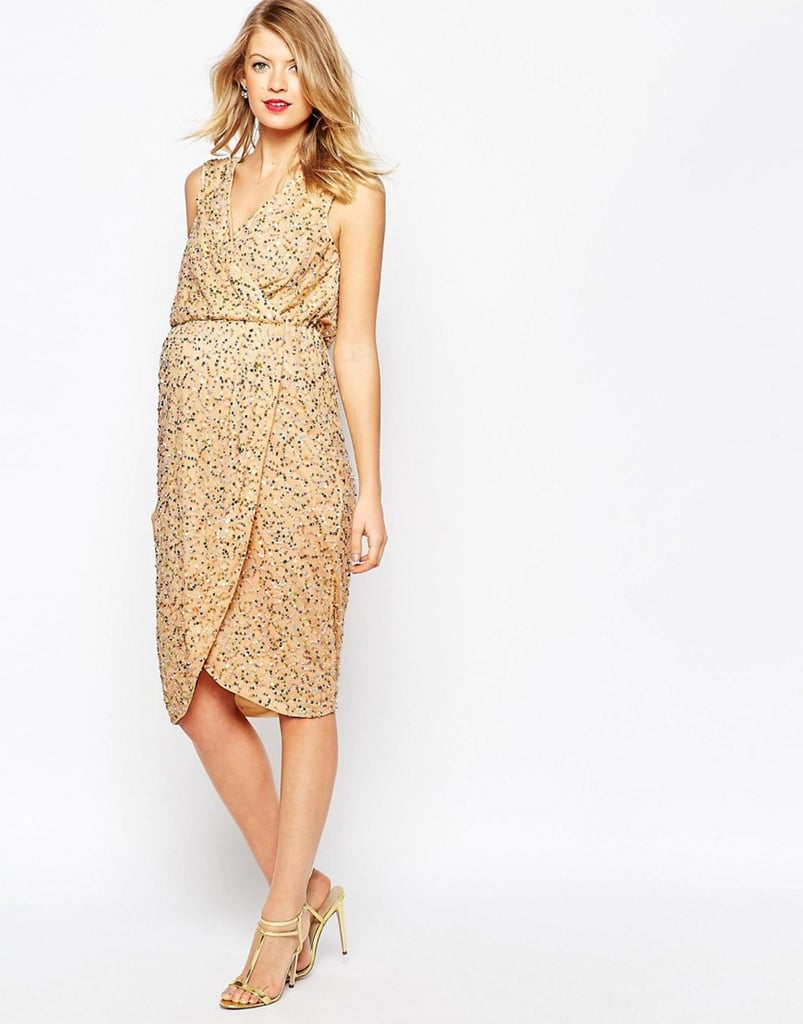 ASOS Wrap Front Sequin Midi Dress ($51, originally $128)