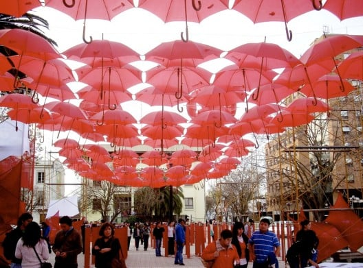 Cool Idea: A Roof of Red Umbrellas