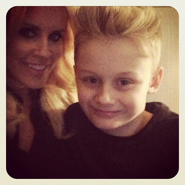 """Jenny McCarthy shared a sweet picture with her son Evan, saying, """"Being a mother . . . Is everything I wanted it to be. He is my teacher, my love, my inspiration, my life. I'm so grateful to have this little man as my wingman in my life."""" Source: Instagram user jennyannmccarthy"""