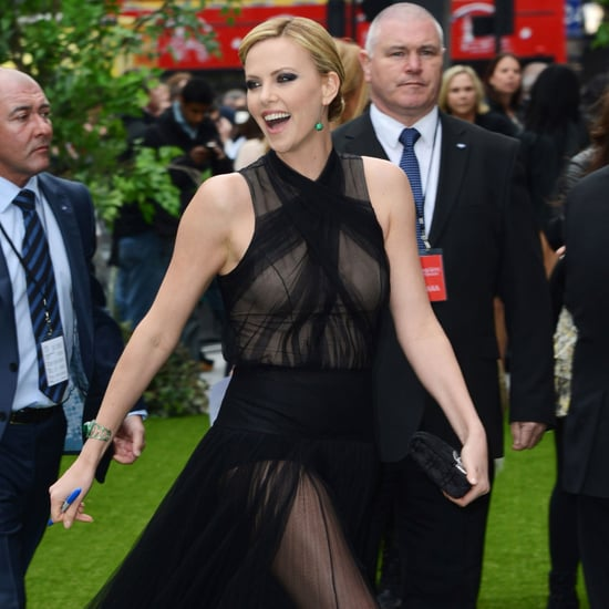Charlize Theron Snow White Premiere Pictures Black Sheer Dress