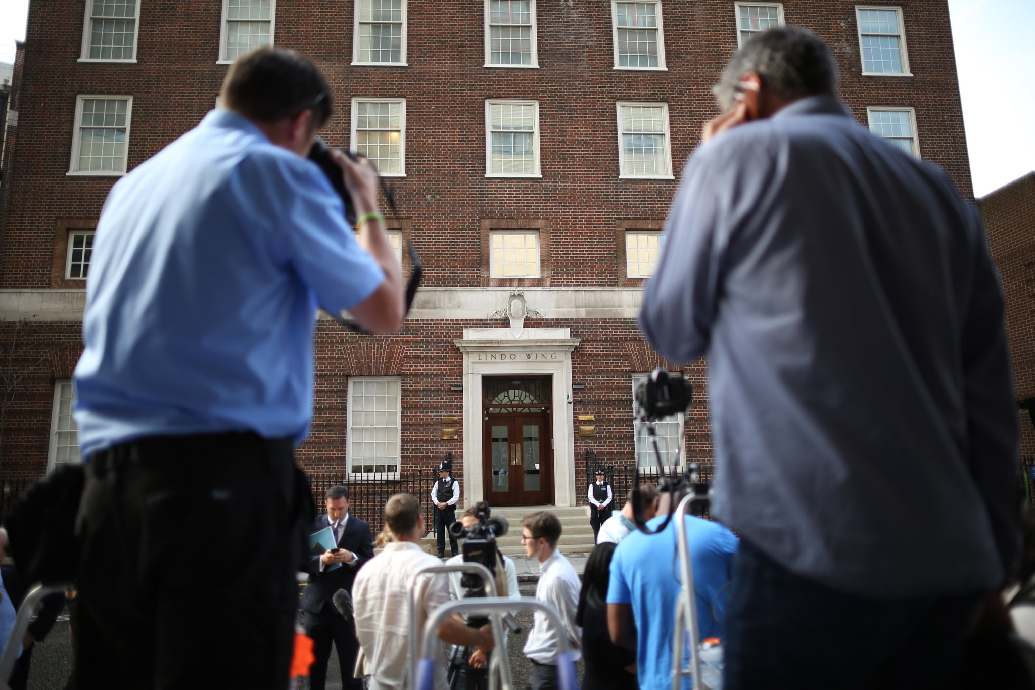 Tourists flocked outside St. Mary's Hospital after the labor was announced.