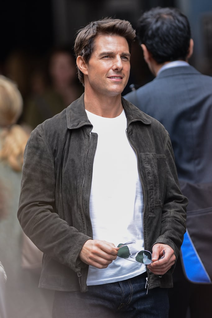 Tom Cruise showed off his sexy smile on the set of Oblivion in NYC in June 2012.