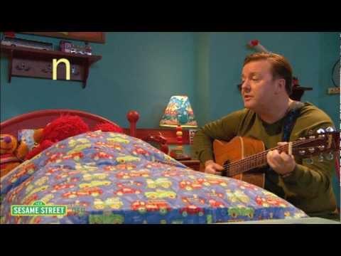 Elmo and Ricky Gervais on Sesame Street