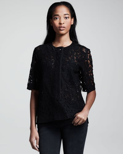Victoria Beckham Denim Half-Sleeve Lace Shirt