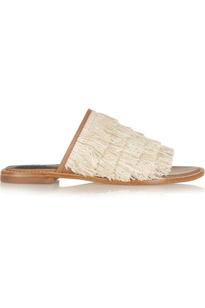 Tibi Fringed Leather Slides