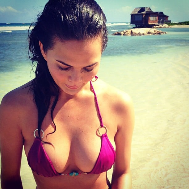 Chrissy Teigen sported a purple bikini. Source: Instagram user chrissy_teigen