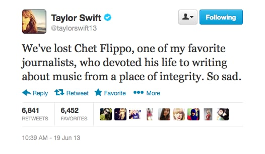 Taylor Swift took time to honour the famed country music reporter Chet Flippo.