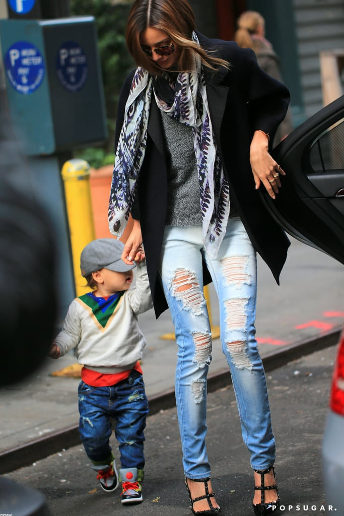 Miranda Kerr and her son Flynn Bloom both wore ripped denim in NYC.