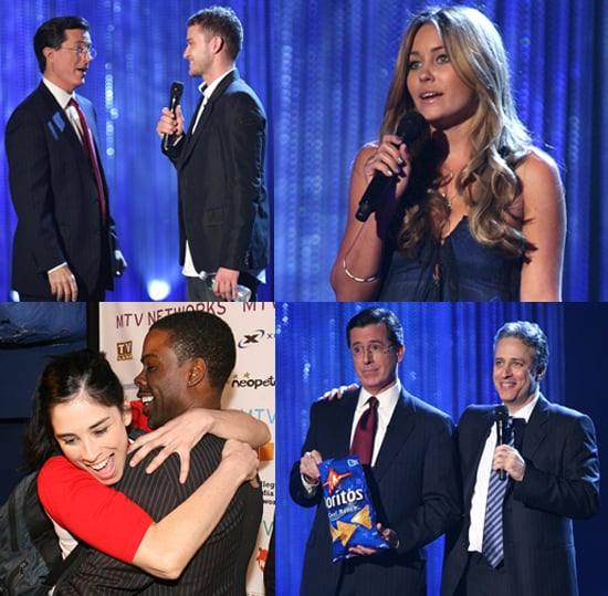 Lauren Conrad, Justin Timberlake, Jon Stewart, Stephen Colbert at MTV Upfront Presentation NYC