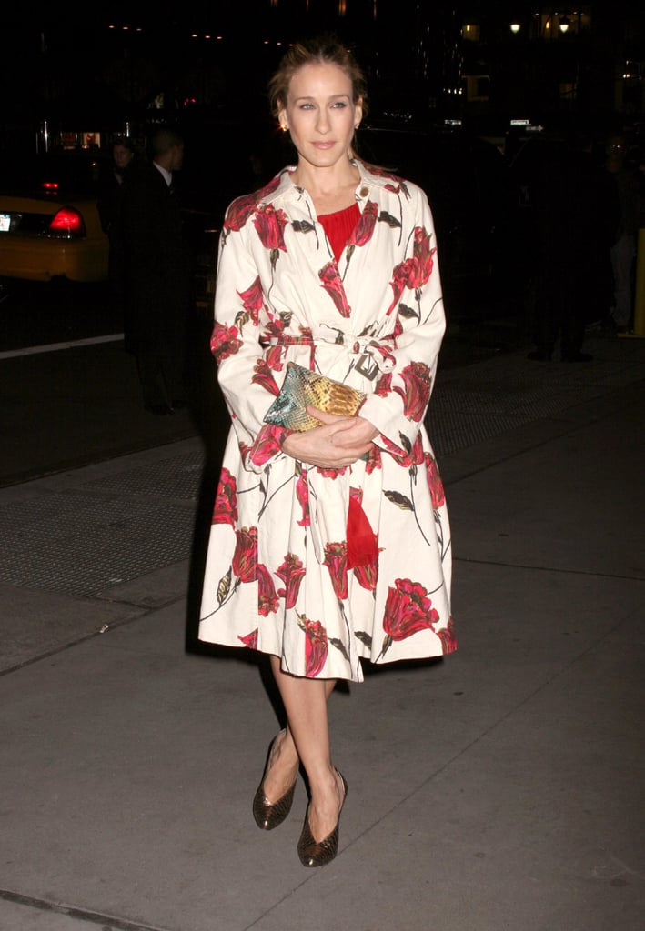 Parker proved the power of a statement coat, donning a red-and-white floral creation with pewter booties for the 2006 National Board of Review of Motion Pictures Gala in New York City.