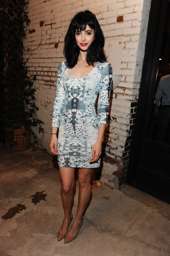 Krysten Ritter attended the Pennyroyal Studio and Confederacy's Design Launch in a mirror-print mini and nude pumps.