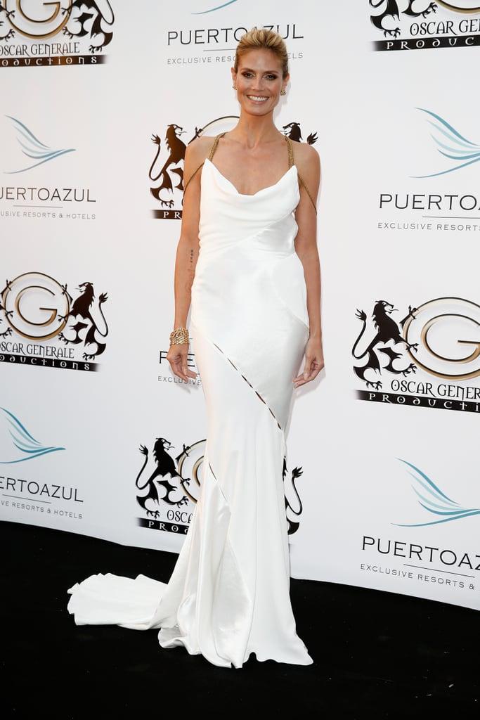Heidi Klum in White Versace at the 2014 Cannes Film Festival