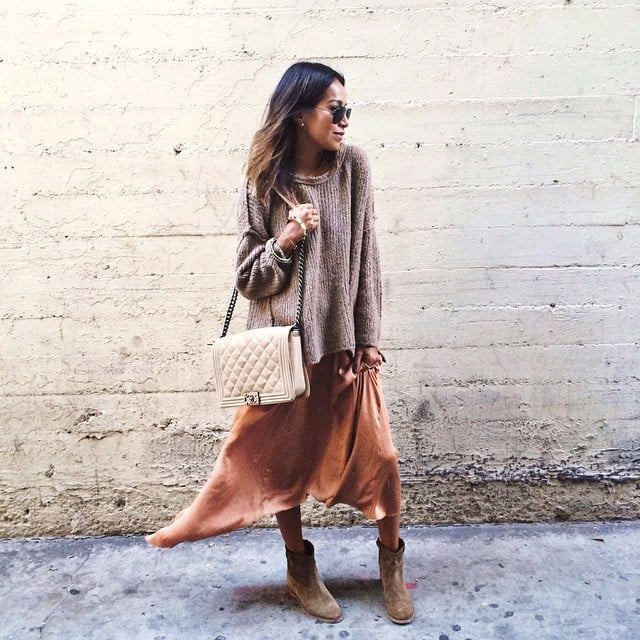 A Cozy Sweater Over a Slip Dress