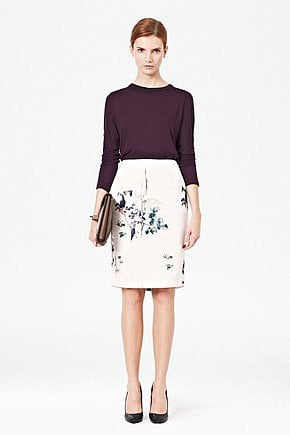 For something totally ladylike, reach for this French Connection Water Flower Pencil Skirt ($108) — then juxtapose it with a vintage tee on top.