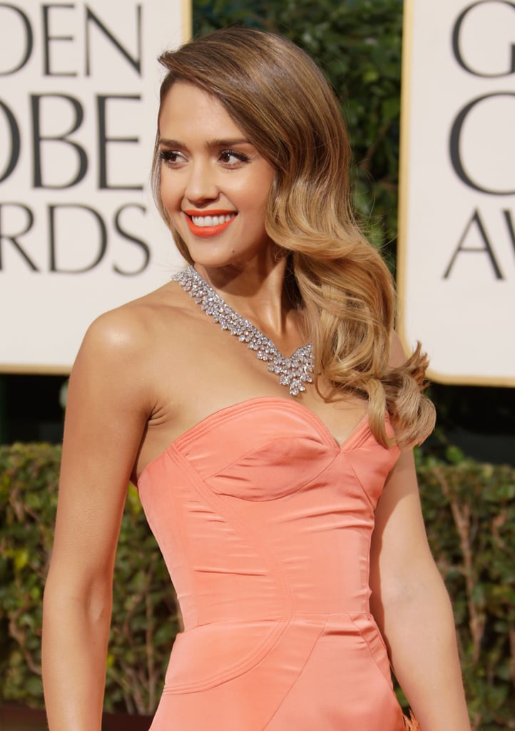 Jessica Alba Goes For Orange at the 2013 Golden Globes