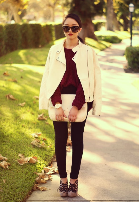 Readdress your Fall palette with a splash of Winter white. Source: Lookbook.nu